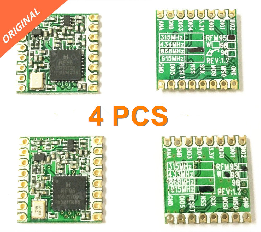 Бесплатная доставка 4 шт. RFM95 RFM95W 868 915 RFM95-868MHz RFM95-915MHz LORA SX1276 модуль беспроводного приемопередатчика FCC ROHS ETSI REACH