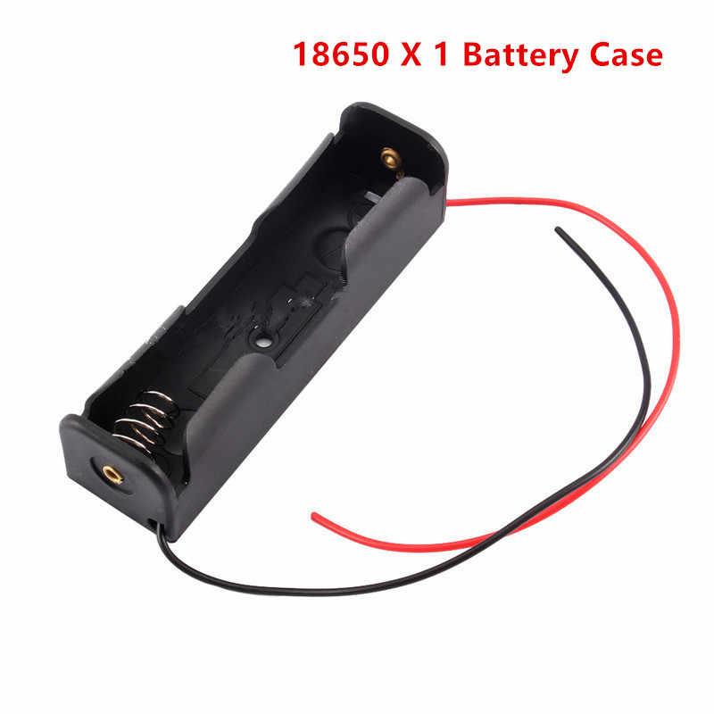 Nero di Plastica 1X2X3X4X18650 Batteria Scatola di Immagazzinaggio Della Cassa 1 2 3 4 Slot modo Fai da Te Batterie Clip Holder Contenitore con Filo di Piombo Spille