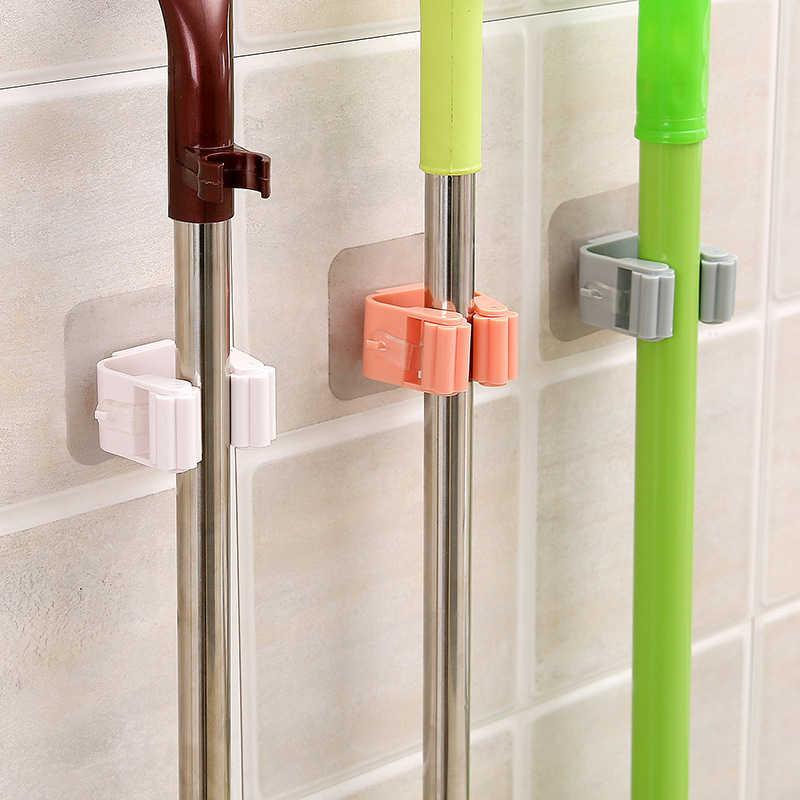 Estante de fregona accesorios de baño estante montado en la pared gancho organizador soporte de escoba colgador detrás de las puertas/en las paredes herramienta de almacenamiento para la cocina