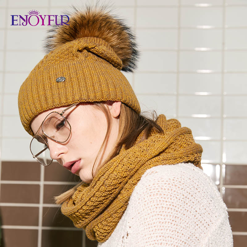 ENJOYFUR Fashion Winter Hat And Scarf Set Women Cashmere Hat Scarf Female Thick Warm Fur Pompom Knitted Hats Lady Warps