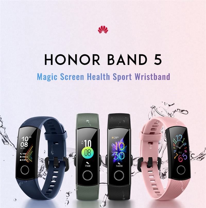 H322f862fdee44fc591cf3da74b5ec2941 Original Huawei Honor Band 5 Smart Wristband Oximeter Magic Color Touch Screen Swim Stroke Detect Heart Rate Sleep Nap