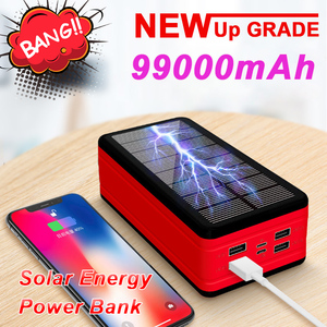 99000mAh Solar Power Bank Large Capacity LED Powerbank Outdoor Waterproof Poverbank for Iphone Samsung Xiaomi Portable Charger