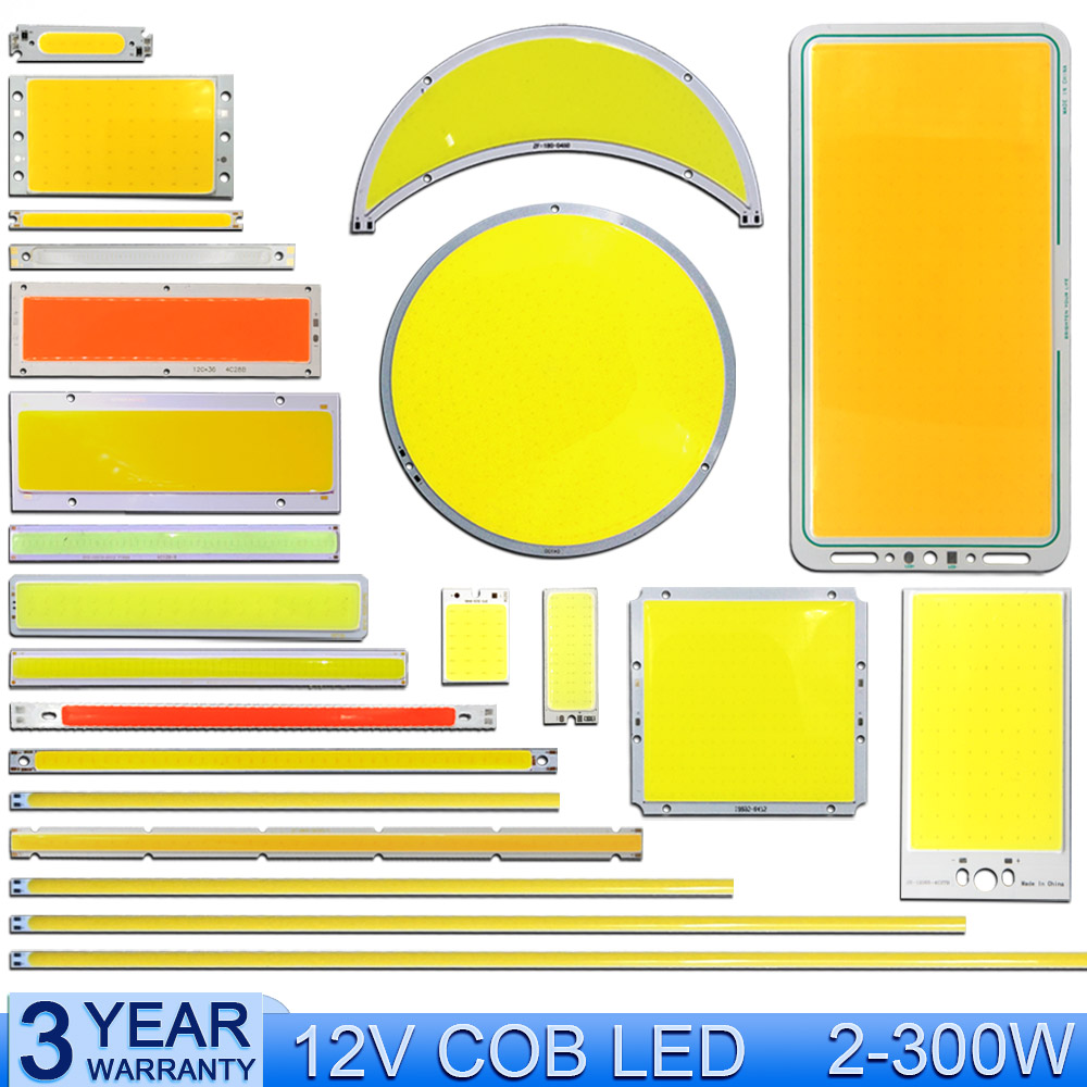 2W-300W 12V LED COB Light Bulb Strip Chip On Board Lighting Source Warm Natural Cold White Blue Red Color DC12V LED Lamp For DIY