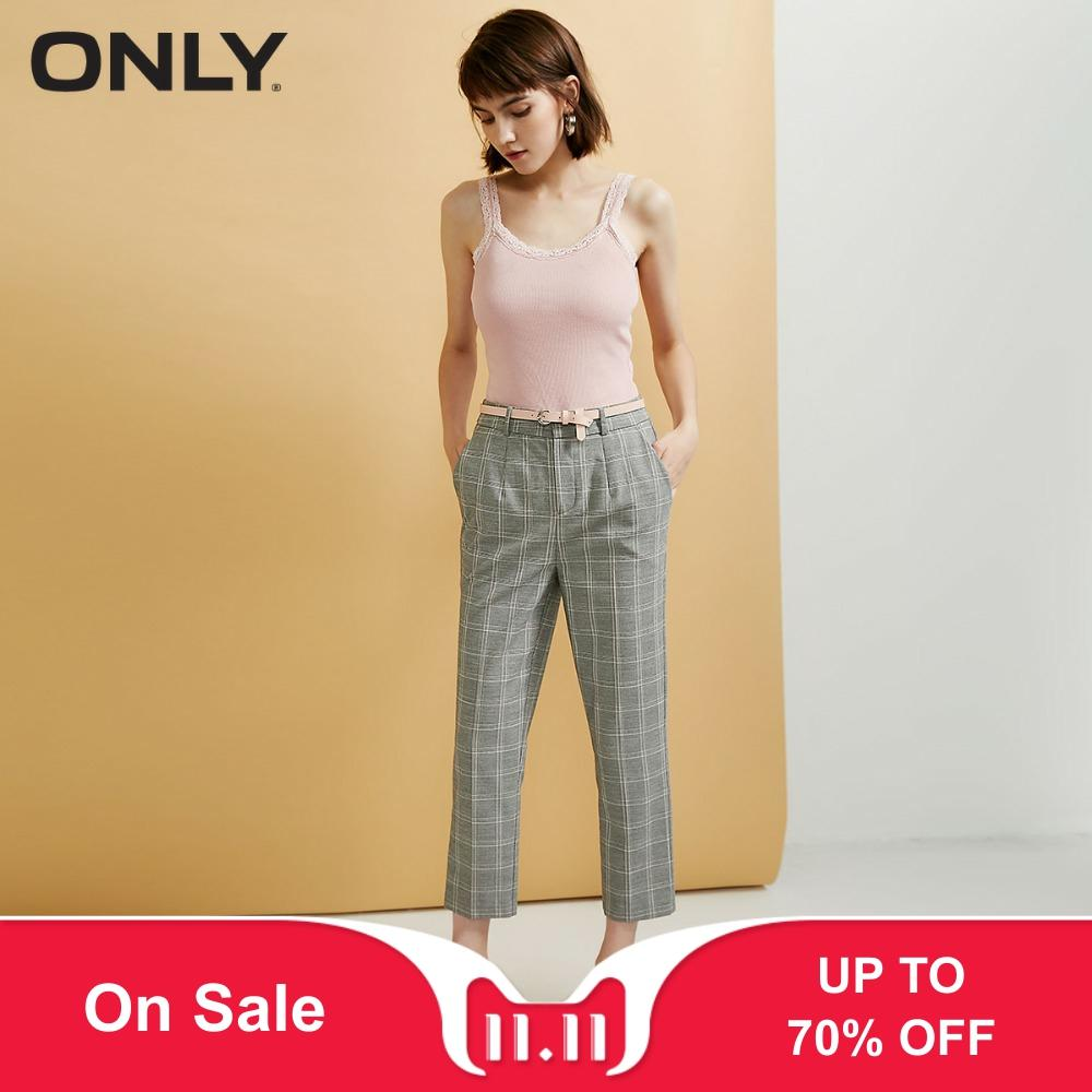 ONLY Women's High-rise Casual Crop PantsDiagonal Pockets Stud Fly |118350512