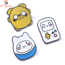 Animation Adventure Time with Finn and Jake Brooches Cute Cowboy Clothing Enamel pin lapel Badge Jewelry