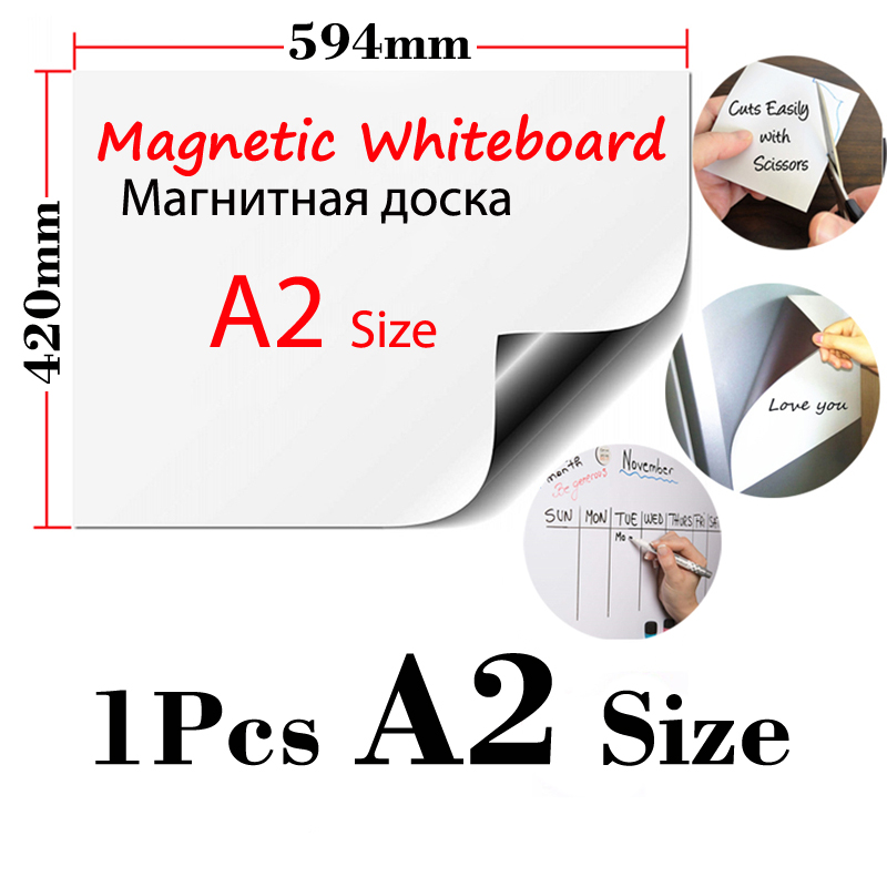 1Pcs A2 Size Magnetic Fridge Stickers Wallpaper Wall Sticker For Kids Dry Erase Whiteboard Office Home Kitchen Message Board