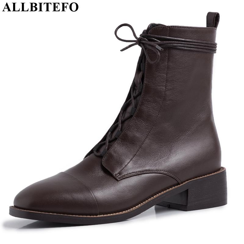 Image 2 - ALLBITEFO high quality genuine leather  Frenulum ankle boots for  women winter women boots concise ladies shoes girls bootsAnkle Boots