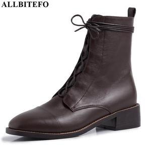 Image 2 - Allbitefo 여성을위한 고품질 정품 가죽 frenulum 발목 부츠 겨울 여성 부츠 간결한 숙녀 신발 여자 부츠
