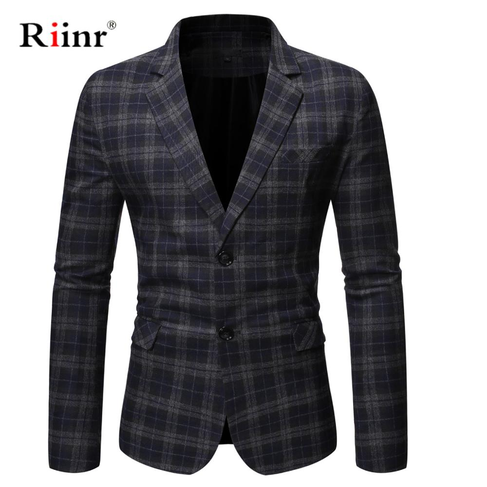 Riinr 2019 Autumn New Arrival Blazer Men Slim Button Suit Plaid Turn-down Collor Tops Men Blazer Hombre Plus Size 3XL