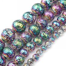 Multicolorido rocha vulcânica lava pedra grânulos naturais redondos grânulos soltos para fazer jóias diy brinco charme pulseira 4 6 8 10mm 15