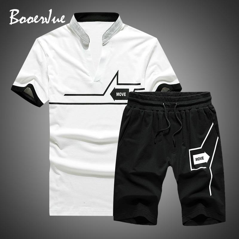 Cropped Top+Shorts Suit Mens Sportwear Shorts Sets Outwear Tracksuit Men New 2020 Summer Two Piece Set Men Short Sleeve T Shirt