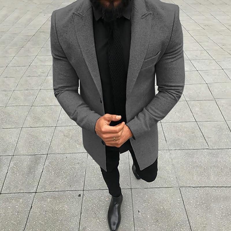 Men Overcoats Business Working Solid Color Long-sleeved Blends Coat Gentleman Autumn Winter Long Jacket Casual Slim Long Coats