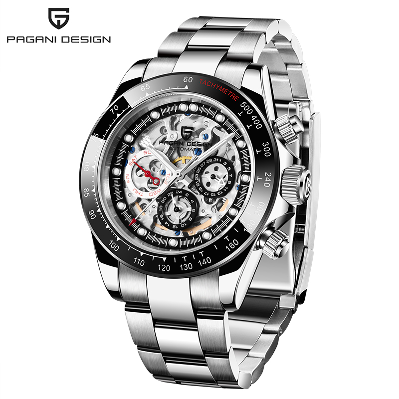PAGANI Design Watch Men Skeleton Automatic Mechanical Watch Stainless Steel Waterproof Fashion Business Relogio Masculino