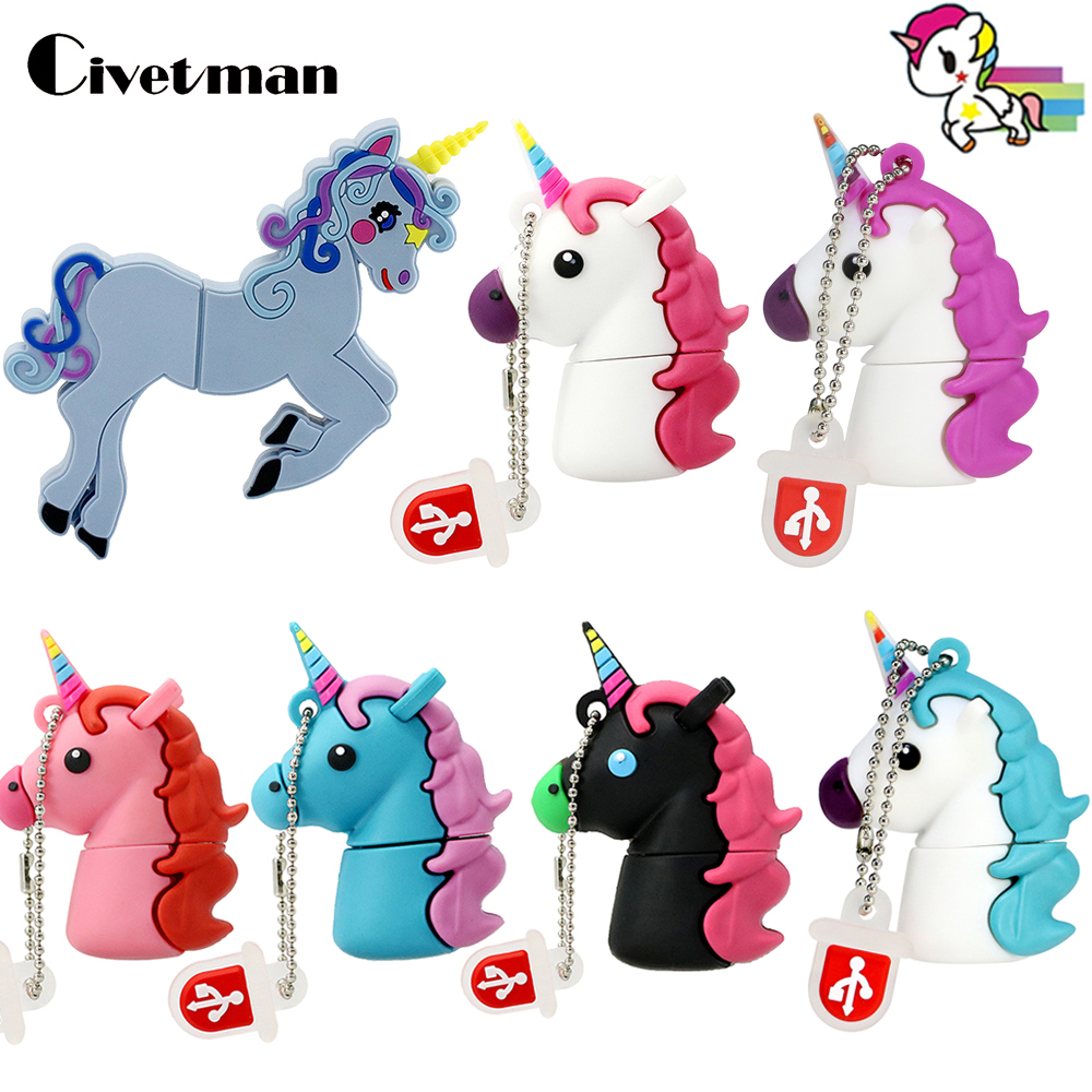 USB Flash Drive Lovely Colorful Unicorn Pen-drive 8GB 16GB 32GB 64GB Pendrive Rainbow Horse USB 2.0 Memory Disk 128GB USB Stick