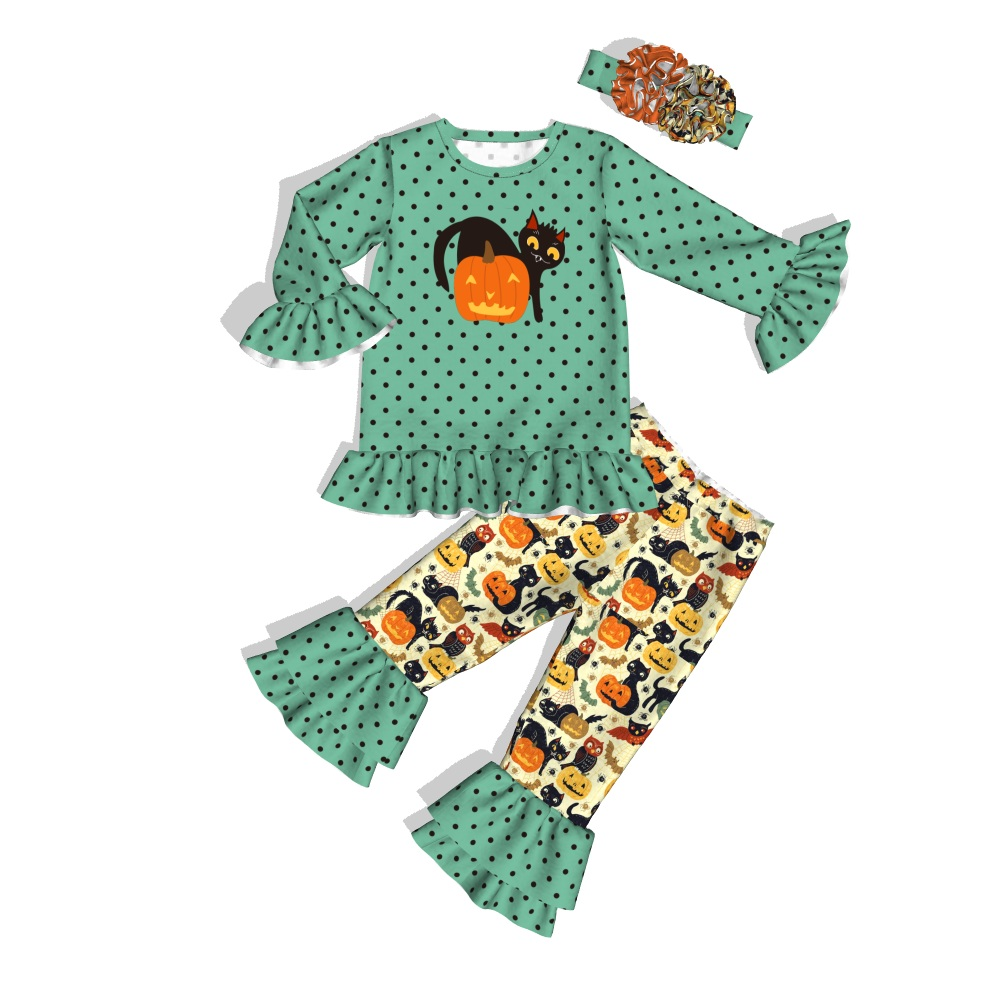 Pumpkin Outfit Halloween Clothes Conice Nini Toddler Boutique Girls New-Arrival 2GK908-1447-HY