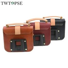 TWTOPSE 2.8mm Leather Cycling Bike Bicycle Bag For Brompton Folding Bike Classic Women