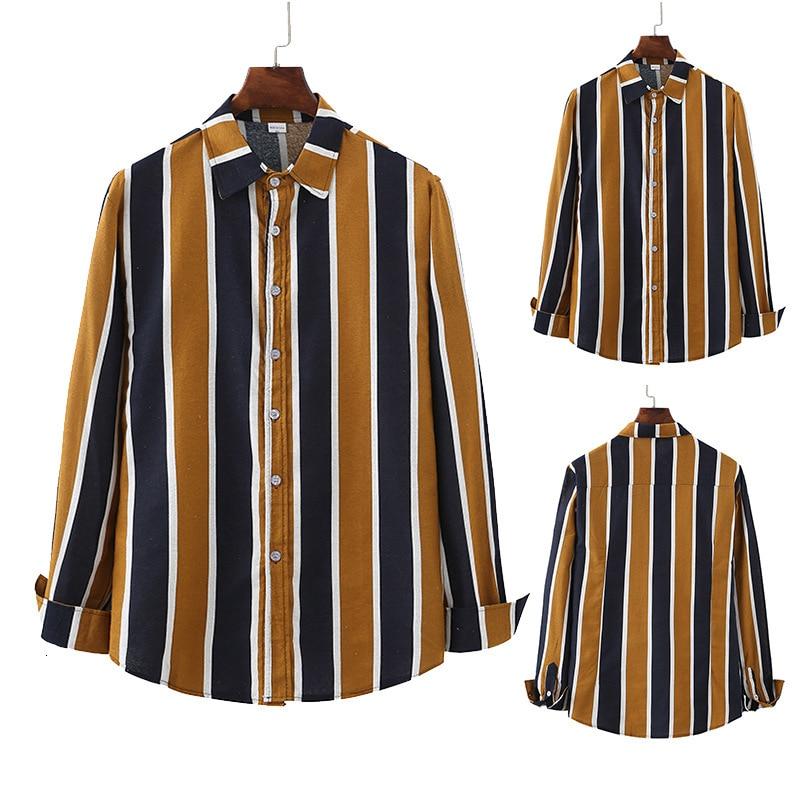 Expert 2019 Autumn Man Stripe Split Joint Printing Leisure Time Man Long Sleeve Shirt Male
