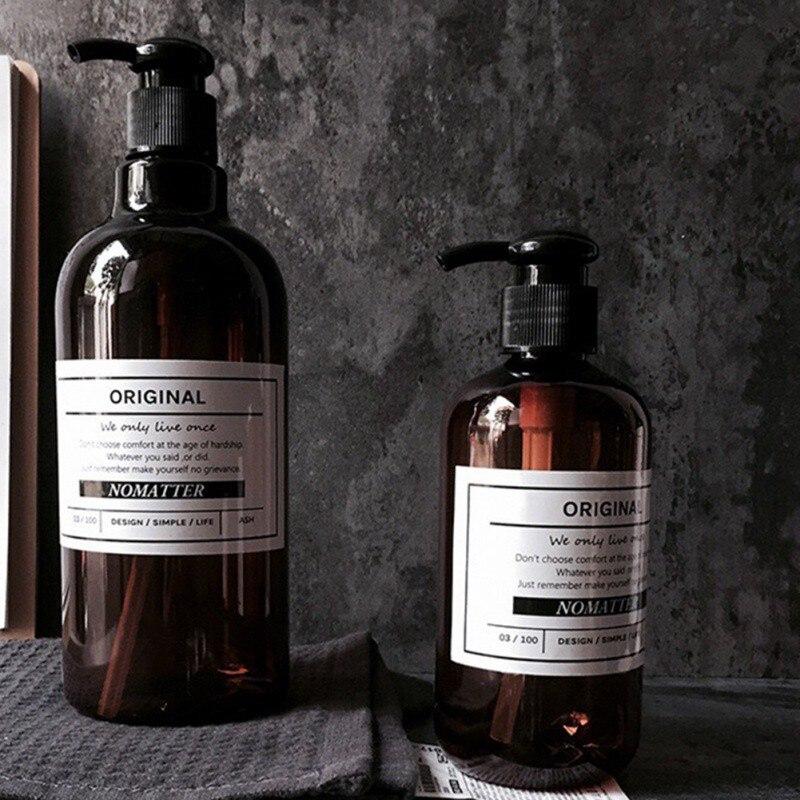 Durable Shower Gel Shampoo Press Bottle Liquid Soap Refillable Bottle Simple Nordic Style