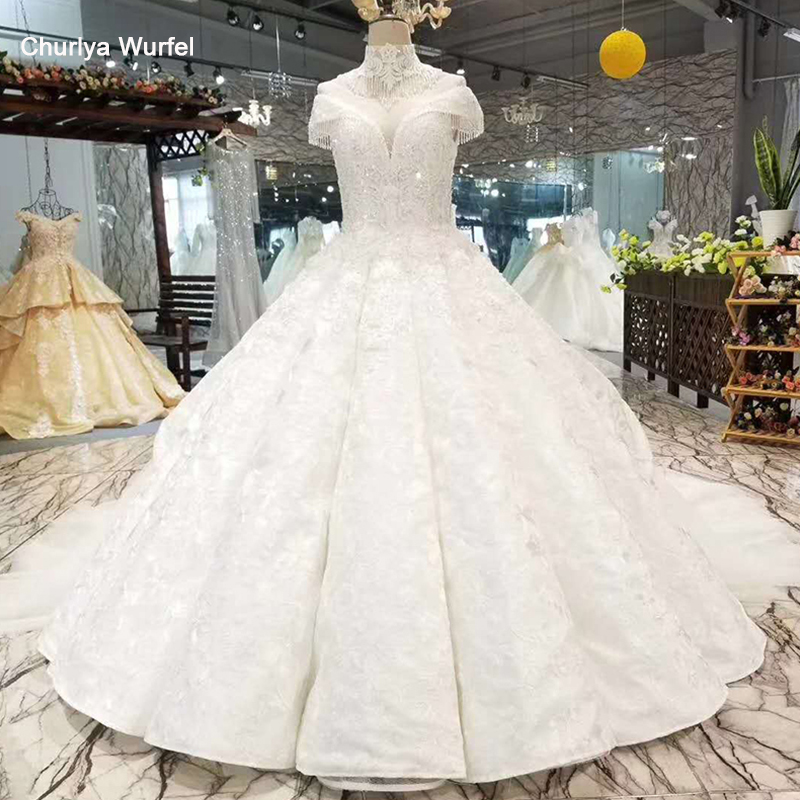 LSS044 Like White Wedding Gown O Neck Short Sleeve Shoulder Chain Decorate Bride Wedding Dresses 2020 Best Seller List Hochzeit