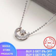 YANHUI Women Necklaces Double Pendant Clavicle Chain Moon Star Charms Necklace 925 Sterling Silver Jewelry MN015