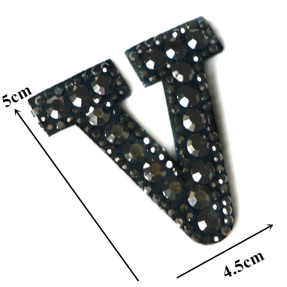 Черные стразы 26 букв алфавита ABC пришить железные нашивки блестящие Значки для имени DIY платье джинсы Аппликации украшения - Цвет: V