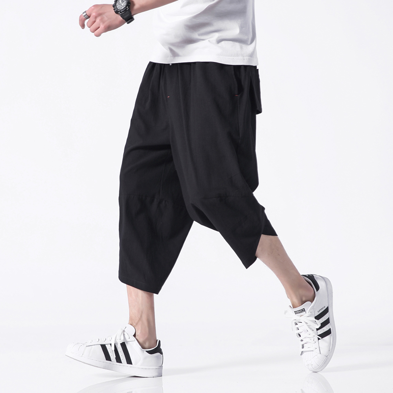 Chinese Style Harem Pants Men 2020 Summer Casual Pants Men Solid Ankle-length Joggers Men