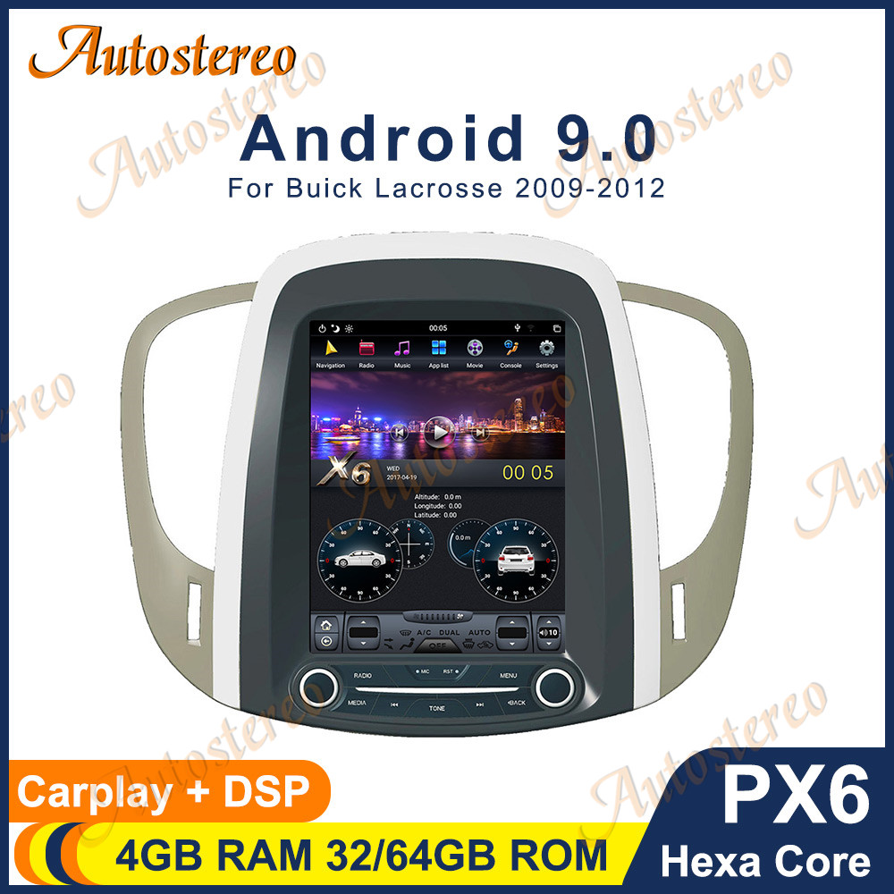 Vertical Screen Android 9.0 6 Core Car Audio GPS Navigation For Buick lacrosse 2008-2014 Head Unit Multimedia Player Auto Radio image