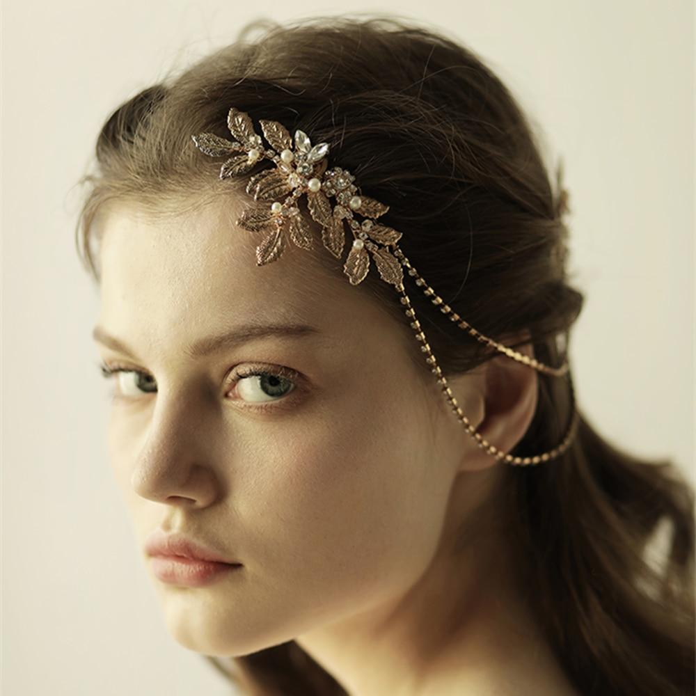 Korean bride wedding hair accessories gold glittering leaves rhinestone headband party dress accessories handmade
