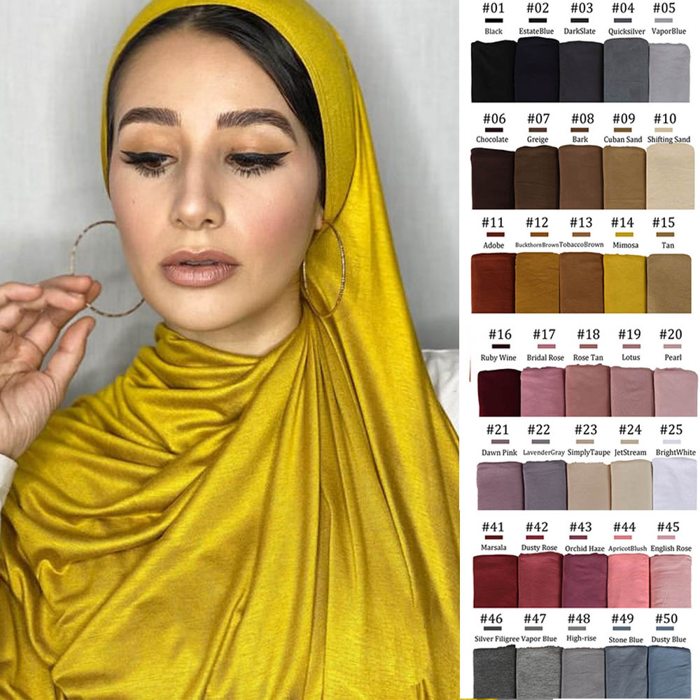 170X60cm Plain Cotton Jersey Hijab Scarf Shawl Solid Color With Good Stitch Stretchy Soft Turban Head Wraps For Women Scarves