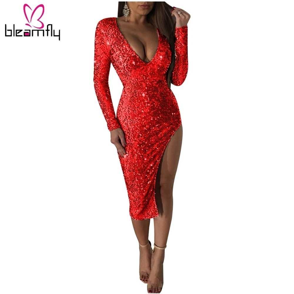 Elegante Rode Pailletten Midi Vrouwen Jurk Sexy V-hals Lange Mouwen Side Slit Club Party Dress Shining Kerst Jurken Vestidos