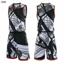 Молодежная баскетбольная спортивная форма для взрослых Быстросохнущий Спортивный костюм баскетбольная форма тренировочная рубашка с мультяшным принтом Шорты с двойным карманом