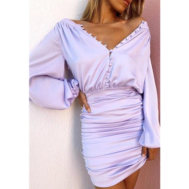 Ohvera mini vestido plisado de manga larga con cuello en v profundo bodycon con botón para mujer vestido elegante para Fiesta club vestido envolvente para mujer verano
