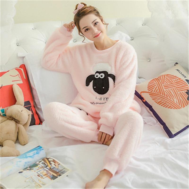 Winter Pajamas For Women Long Sleeve Warm Pyjama Set Velvet Cute Sleepwear Flannel Hot Pijama Mujer Night Suit Women Homewear