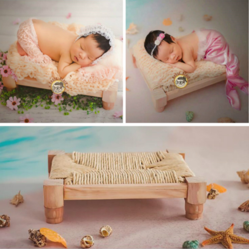 Newborn Photography Props Mini Wooden Bed Hemp Rope Baby Posing Props Infant Photo Shoot Accessories Creative Props Baby Cribs