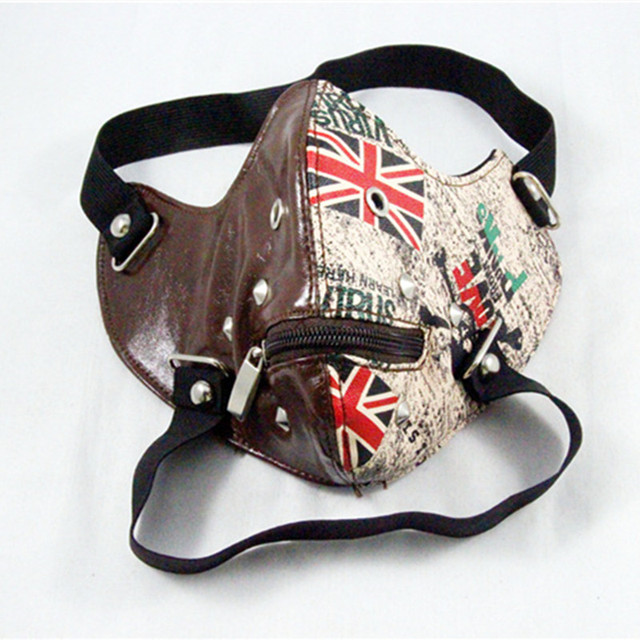 PU Leather motorcycle face mask Punk Rock style half face mask Halloween party Ghoul Cosplay Leather Mask Moto casco face mask 5