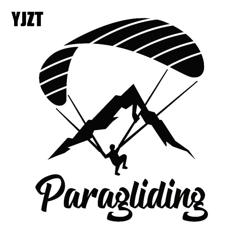 YJZT 14.3CM*17.3CM Paraglider Paragliding Extreme Sport Decor Car Sticker Motorcycle Decal Black/Silver C31-0097