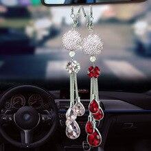 Colgador de metal para espejo retrovisor de coche, bola de cristal montada en el interior, accesorios decorativos de decoración de agua para mujer