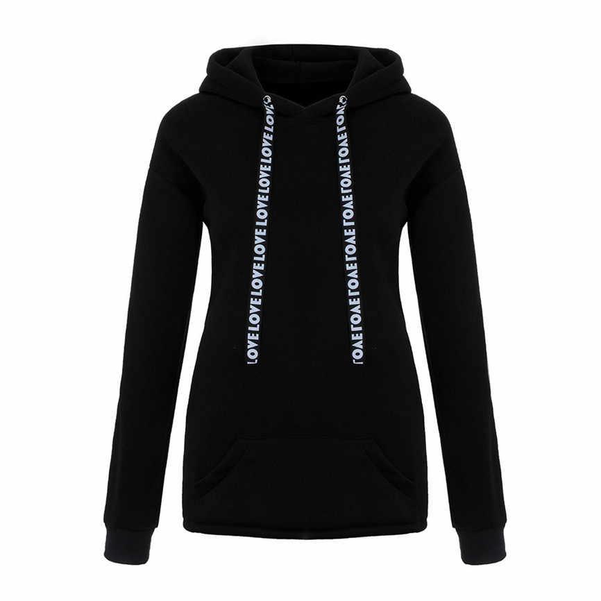 Модные пальто Женская толстовка с капюшоном плюс размер длинный рукав 2019 Повседневный Женский пуловер Топы зима осень Femme блузка Mujer