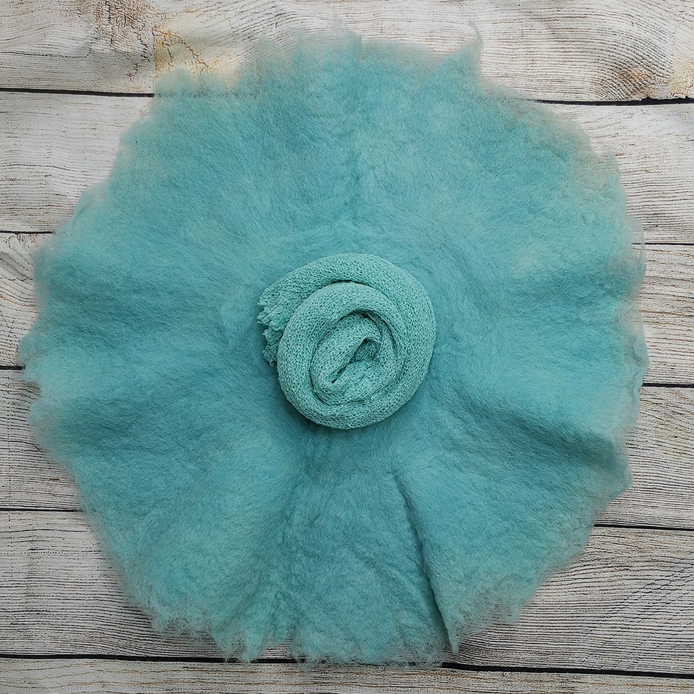 54.Handcraft Wool Felted Round Blanket+140*30cm Stretch Knit Wrap For Newborn Photography Props