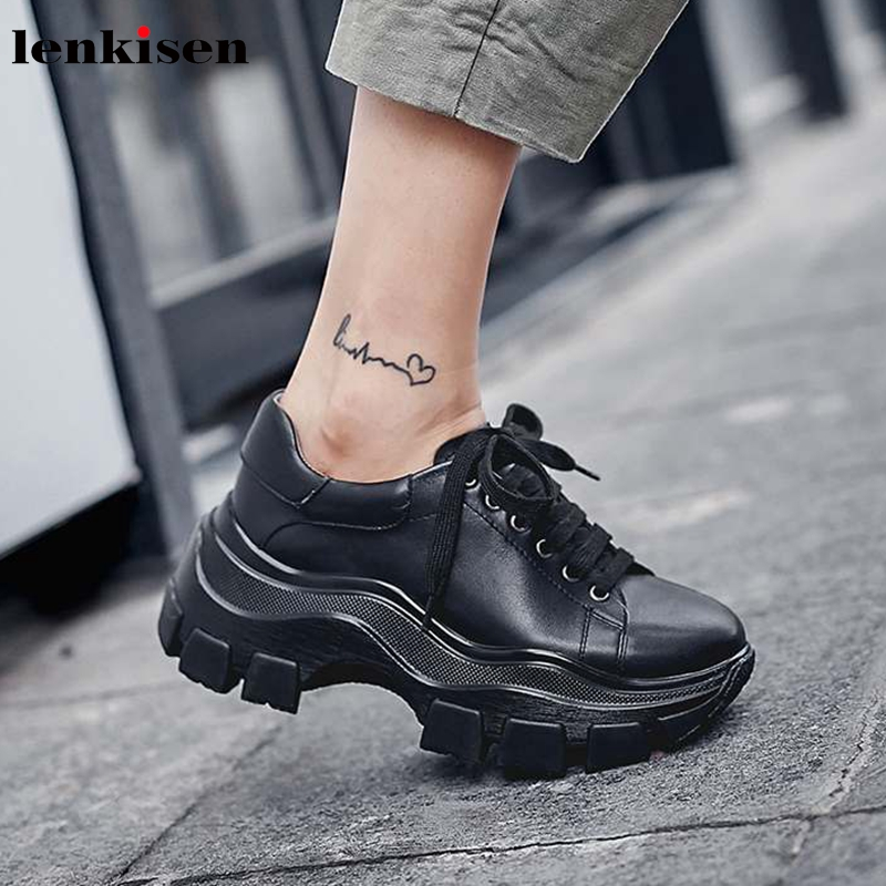 Lenkisen young lady real cow leather round toe high heels fashion lace up solid sneaker thick bottom women vulcanized shoes L09