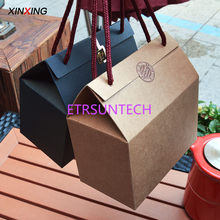100pcs/lot Kraft Paper Gift Box With Handle Cake/Chocolates/Candy Packing Bags Stand Up Food paper boxes wholesale Custom size(China)