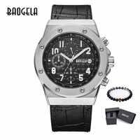 BAOGELA Homme Nouveau Quartz Montres 2019 Étanche Chronographe clignotant Lumineux Montre-Bracelet Homme En Cuir Bracelet Relog