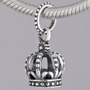Original Vintage Noble Splendor Crown Pendant Beads Fit 925 Sterling Silver Bead Charm Bracelet Bangle Jewelry