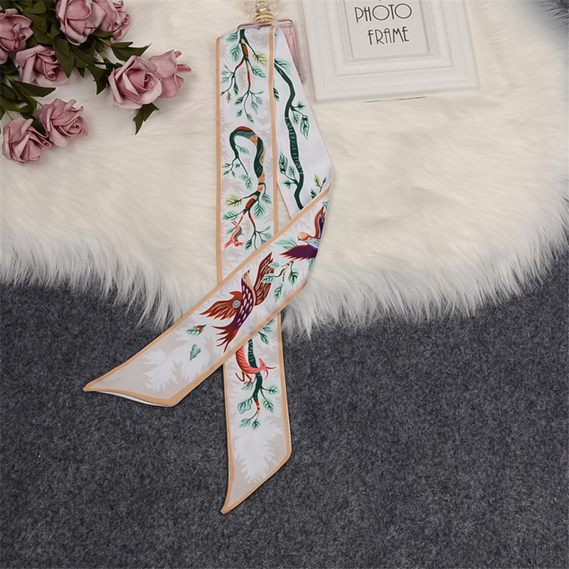 """Tree Of Life"" Deer Luxury Brand Scarf Women Silk Scarf 2020 Design Bag Hair Neck Skinny Scarf Wrist Towel Foulard Femme Hijab"