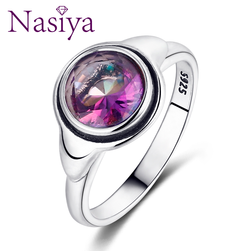 Nasiya Simple 925 Silver Rings With Created Topaz Fine Gemstone Anillos For Women Party Wedding Wholesale Dropshipping