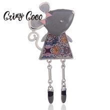 Cring Coco Trendy Animal Mouse Brooch for Women Dress Scarf Collar Pins Corsage Small Animal Brooches Pins Badges Girls Kids New crystal sunflower brooches lapel pins for women corsage scarf dress decoration