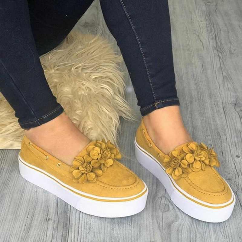 Scarpe Da donna 2019 Signore di Autunno della Molla Appartamenti Slip On Casual Scarpe Da Ginnastica Traspiranti Fiore di Skateboard Scarpe zapatos de mujer