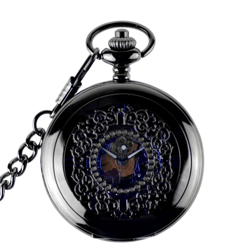 Luxury Floral Black Pocket Watch Vintage Roman Numbers Watch Display Analog Mechanical Hand Wind Fob Watch For Men Women