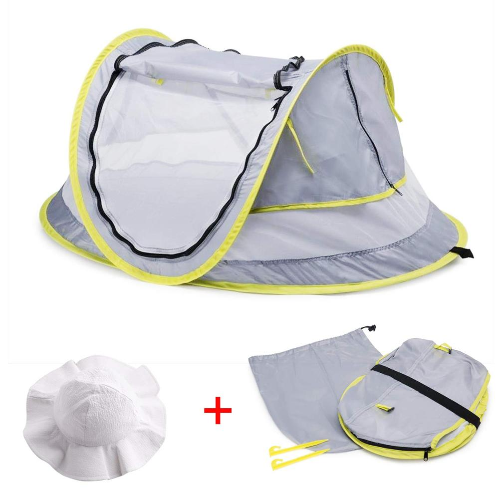 Baby Beach Tent Brim Sun Protection Hat Portable Baby Travel Tent Infant Sun Shelters Pop Up Folding Outdoor Bed Baby Shade