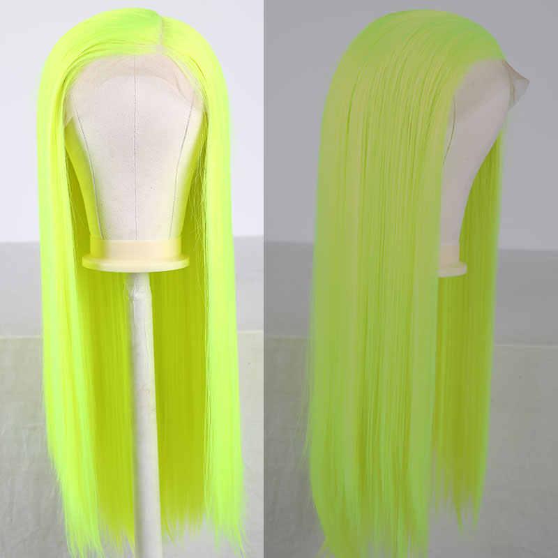 Bom Sintetis 13*6 Inci Lace Front Wig Hijau Terang Lurus Tahan Panas Serat Rambut Alami Rambut untuk Wanita wig